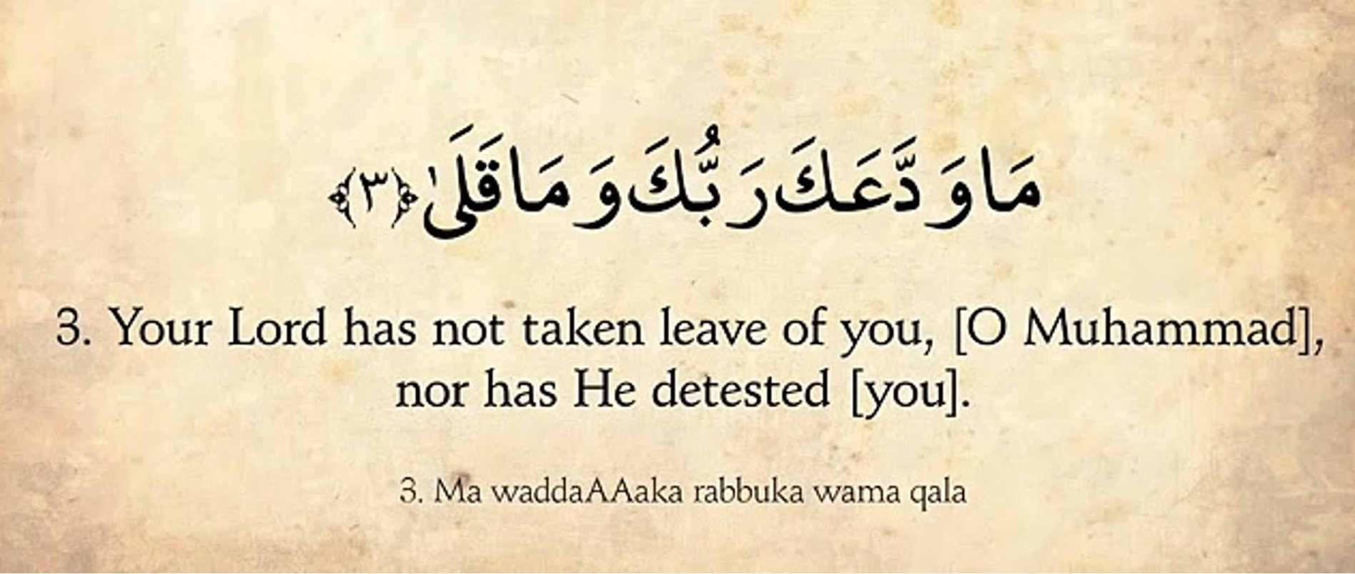 Your Lord has not taken leave of you
